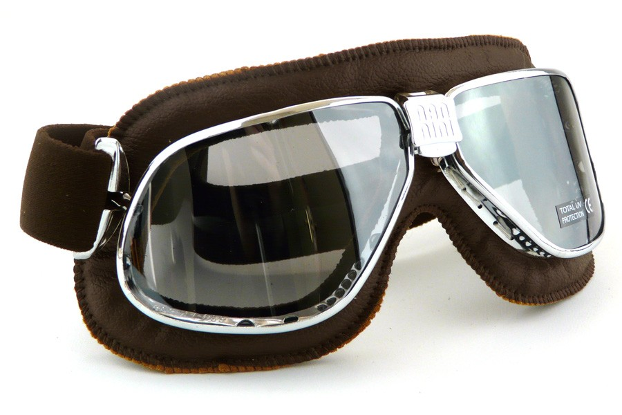 Nannini cruiser motorcycle goggles in brown leather