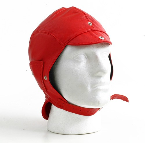 Red leather helmet