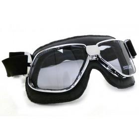 Nannini Biker Motorcycle Chrome Black Goggles