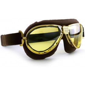 Nannini TT Gold Motorcycle Brown Goggles