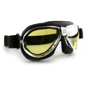 Nannini TT Chrome Motorcycle Black Goggle
