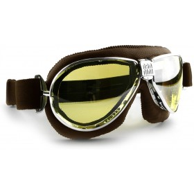 Nannini TT Chrome Motorcycle Brown Goggles