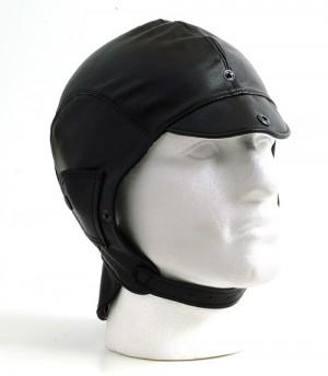 Black leather helmet