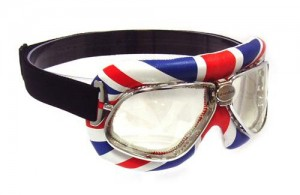 Nannini cruiser motorcycle goggles with a Union Jack design