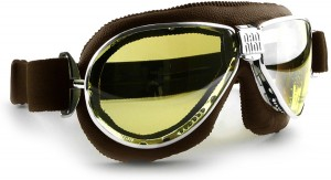 Nannini TT classic style leather motorcycle goggles