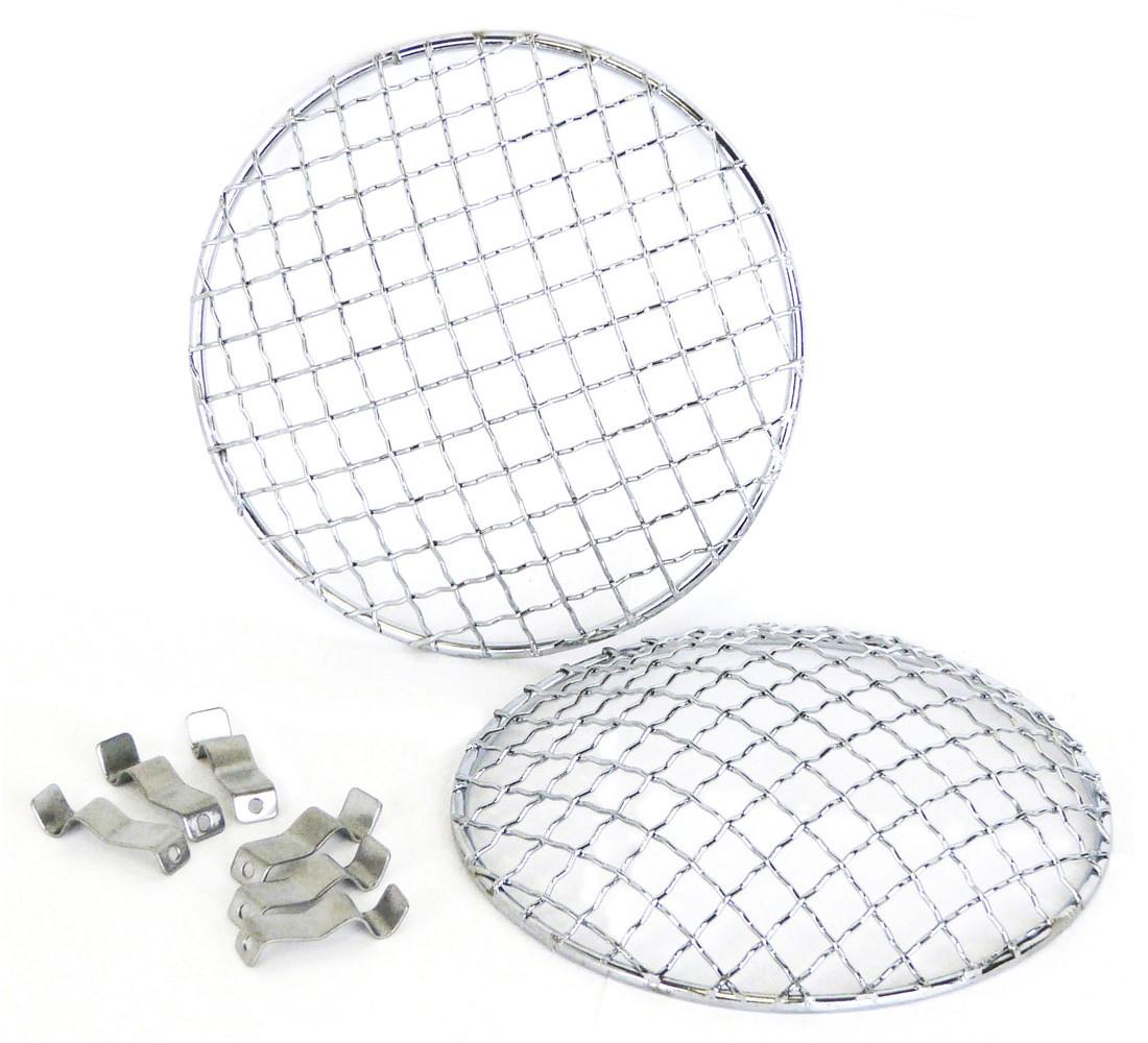 5 3/4inch Headlamp Mesh Grill Chrome Stonegaurds (Pair)