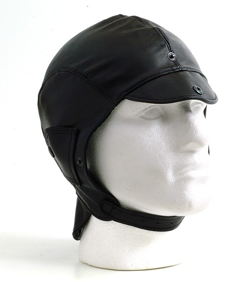 Black leather helmet