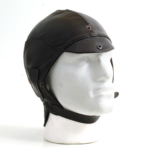 Brown leather helmet