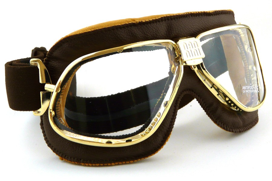Nannini cruiser motorcycle goggles in brown leather with silver lenses
