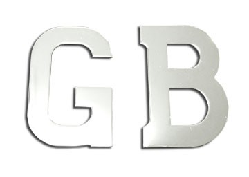 "31/2"" x 1/2"" Solid Stainless Steel GB letters (Pair)"
