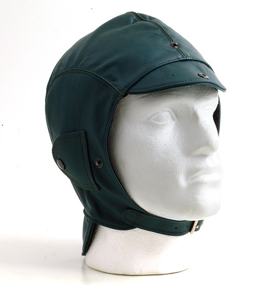 Green leather helmet