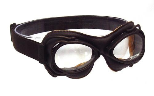 Brown Nannini Streetfighter goggles with clear lenses