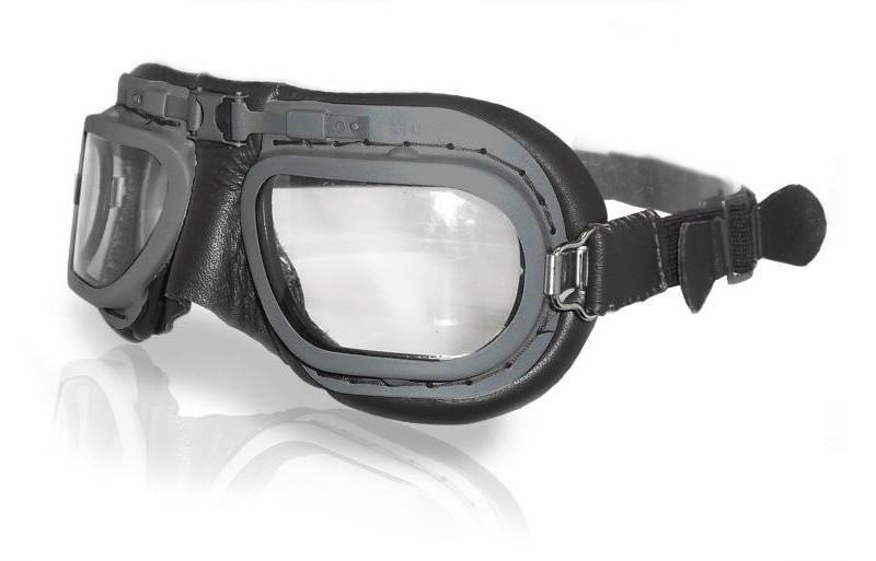 Retro Grey Aviation Goggles - Black Leather