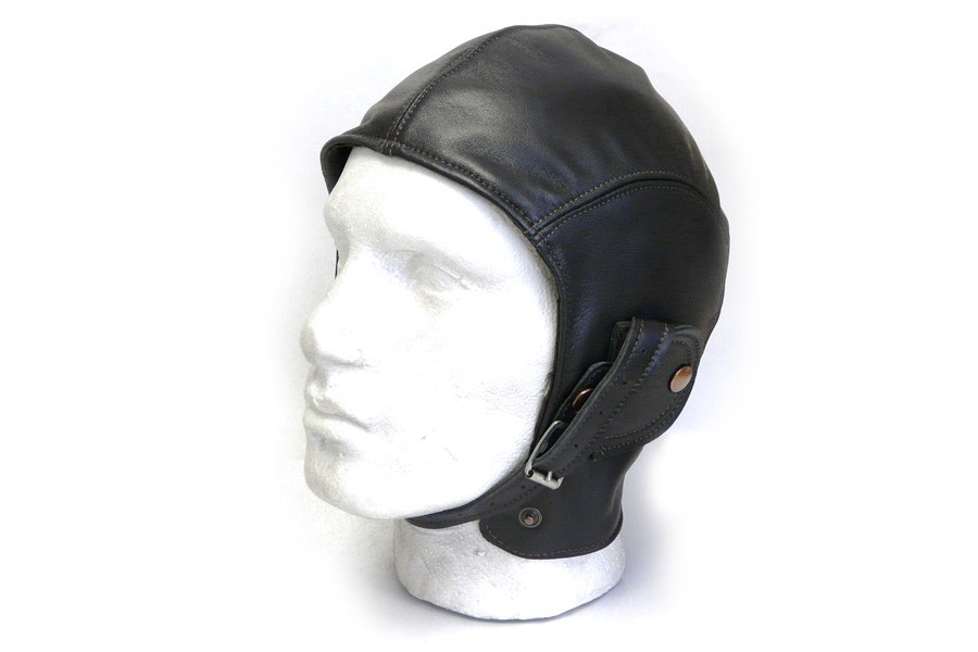 Retro Black Leather Helmet