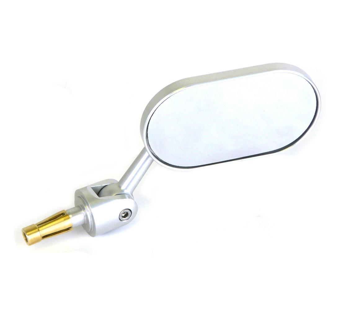 Oberon Adjustable Streetfighter Oblong Bar End Mirror - Silver