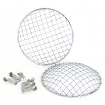 7inch Headlamp Mesh Grill Stainless Steel Stonegaurds (Pair)