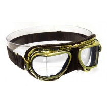 Mark 49 Antique Brass Compact goggles - brown leather