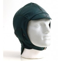 Green leather helmet