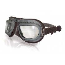 Retro Grey Aviation Goggles - Brown Leather