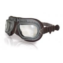 Retro Grey Aviation Goggles - Brown Leather