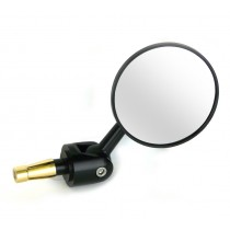 Oberon Adjustable Streetfighter Round Bar End Mirror - Black