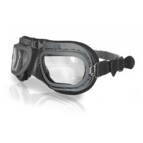 Retro Grey Aviation Goggles - Black Leather