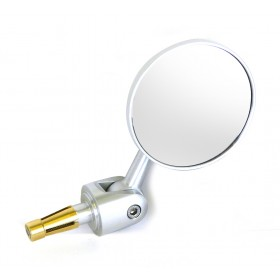 Oberon Adjustable Streetfighter Round Bar End Mirror - Silver