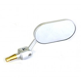 Oberon Adjustable Streetfighter Oblong Bar End Mirror - Silver