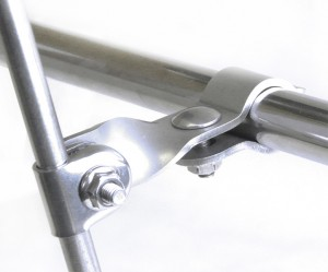 Halcyon 967 Scooter Bar Clamp Bracket Twisted - Stainless Steel