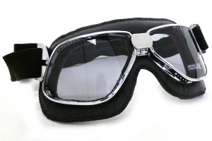 Nannini Biker Motorcycle Chrome Black Goggles