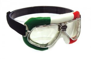 Nannini cruiser motorcycle goggles with an Italian flag design