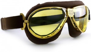 Brown Leather TT Goggles with Gold Frames