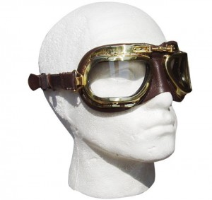 Retro Racing Goggles - Black Leather with Chrome Frames