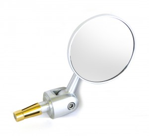 Oberon Adjustable Streetfighter Round Bar End Mirror - Silver